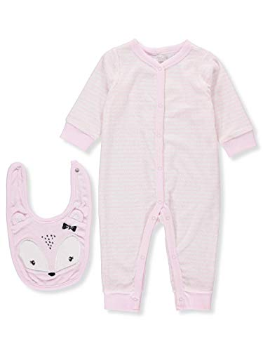 Unisex 2 Piece Coverall and Bib Set, Pink Stripe, 6-9 Months ()