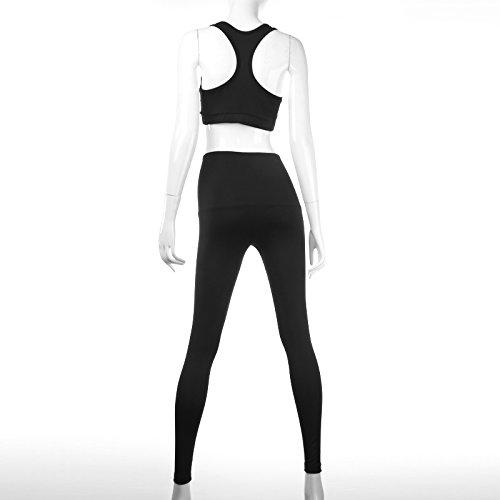 Leezeshaw Mujeres Strappy Criss top costura con pantalones largos 2 piezas Set Tracksuits deportivos Black