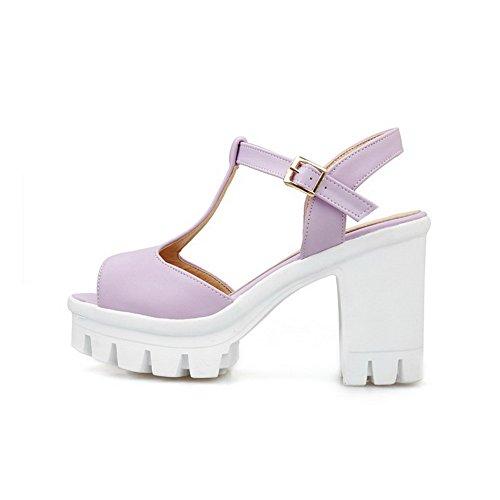 Allhqfashion Mujeres Hebilla Peep Toe Tacones Altos Pu Sólido Sandalias De Tacón De Color Púrpura