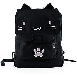 Joyloading, Mochila de Lona con diseño de Gato Negro para la Universidad, para la Escuela, portátil, Mochila para niños con Dibujos Animados japoneses, Pata de Gatito, Mochila Escolar