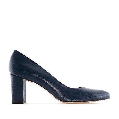 Andres Machado.heeled Sko I Leather.made I Spain.womens Tynn Og Store Størrelser: Oss 2-5 -us 10,5 Til 13 / Eu 32-35 -eu 42 Til 45. Marineblå Skinn