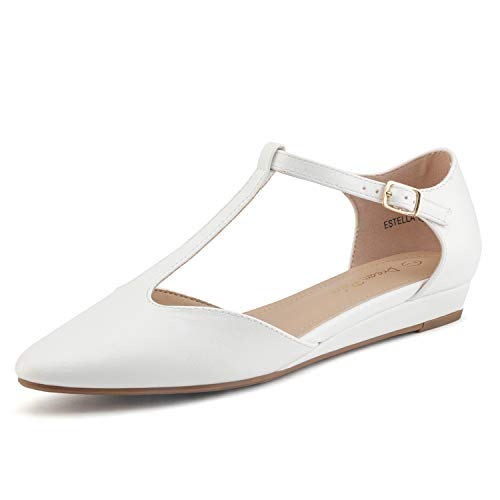 DREAM PAIRS Women's White Pu Low Wedge Ballet Flats Shoes Size 5.5 M US Estella