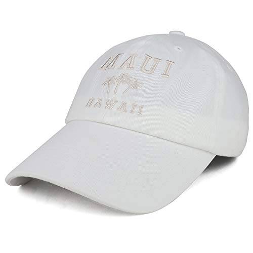 - Trendy Apparel Shop Maui Hawaii with Palm Tree Embroidered Unstructured Baseball Cap - White