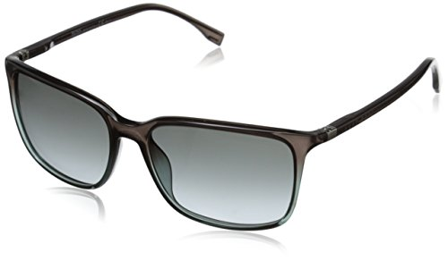 BOSS by Hugo Boss Men's B0666S Rectangular Sunglasses, Petrol Brown/Gray Gradient, 56 - Petrol Rectangular Sunglasses