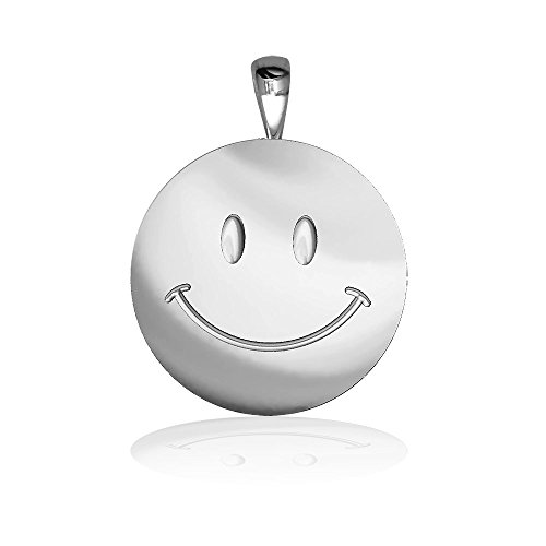 Sziro More Themes Jewelry Medium Happy, Smiley Face Charm in Sterling Silver