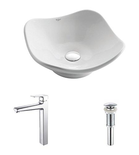 Kraus C-KCV-135-15500CH White Tulip Ceramic Sink and Virtus Faucet Chrome