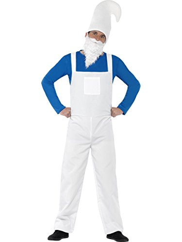Smiffy's Men's Garden Gnome Costume, Top, Dungarees, Beard and Hat, Funny Side, Serious Fun, Size XL, (Gnome Girl Costume For Toddlers)