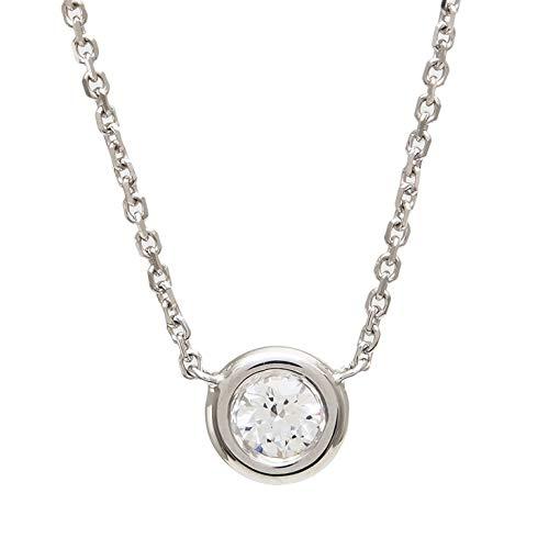 -F VS1 Diamond Bezel Pendant Necklace (WG, 15pt) ()
