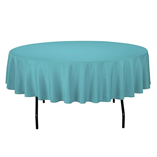 LinenTablecloth 90-Inch Round Polyester Tablecloth Turquoise
