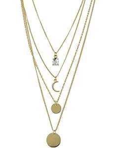 Rhinestone Moon Multilayered Necklace