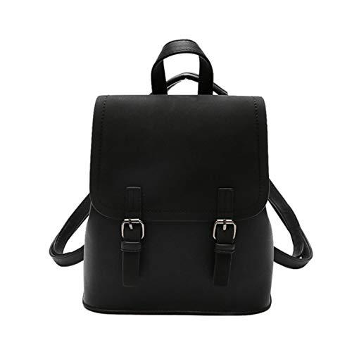 Women's fashion cute black leather matte Black small PU backpack qRarxwqAO