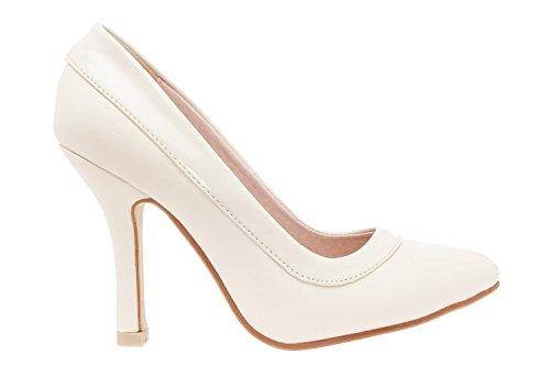 Andres Machado.AM592.Zapatos Salon combinado Soft.Para Mujer.Tallas Pequeñas y Grandes 32/35.42/45. Beige.N