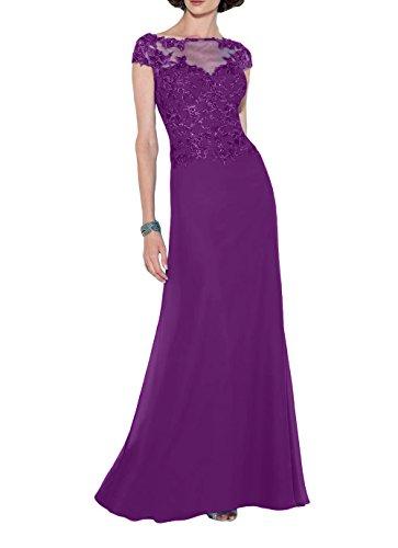 Abendkleider Kurzarm Lang Promkleider Brau mia La Jugendweihe Brautmutterkleider Partykleider Spitze Elegant Violett Kleider gYIHIxq