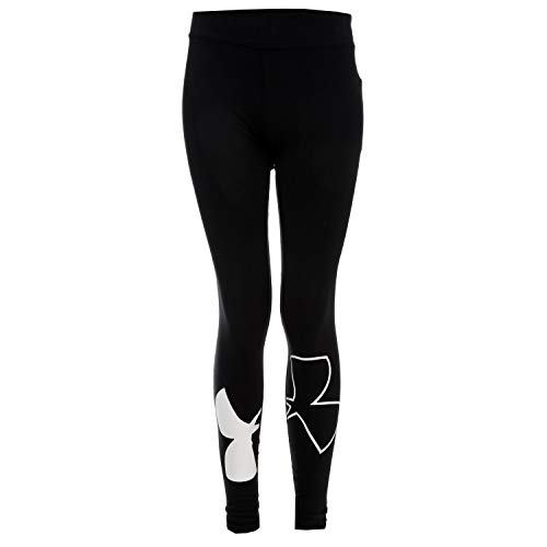 Under Armour Kids Girl's Favorite Knit Leggings (Big Kids) Black/White Large by Under Armour (Image #1)
