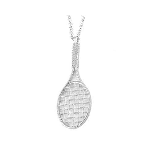 Gold Tennis Racket - WLLAY Sporty Casual Gold Tennis Racket Ball Pendants Silver Chain Necklace Women Tennis Racquet Lover Jewelry (Silver)