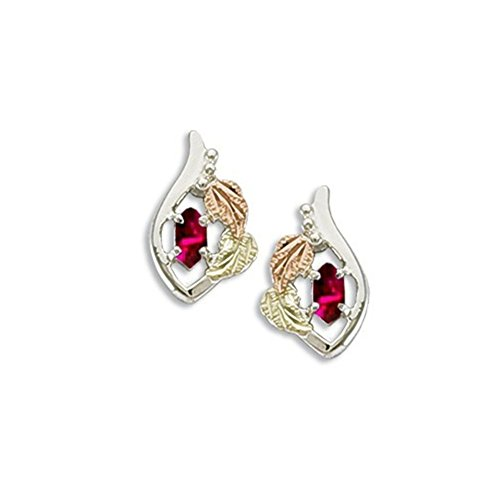 Motif Earrings Ruby (Created Ruby Marquise July Birthstone Earrings, Sterling Silver, 12k Green and Rose Gold Black Hills Gold Motif)