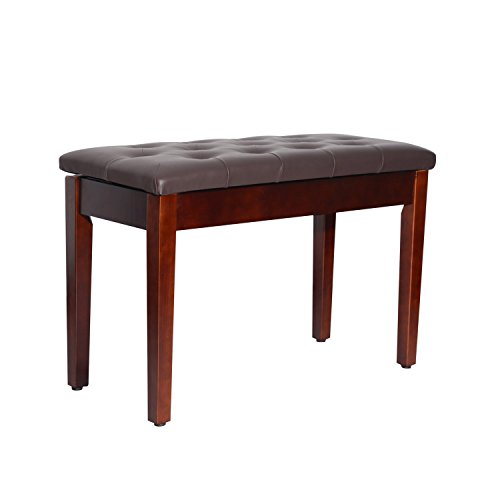 (HOMCOM Traditional Country Birchwood Faux Leather Padded 2 Person Piano Bench - Chestnut Brown)