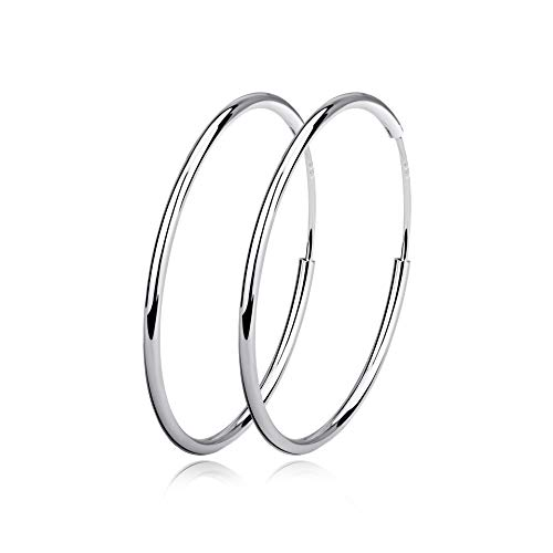 (Silver Hoop Earrings Sterling Silver Circle Endless Big Earrings Hoops Jewelry,Fashion Gold Hoop Earring for Women Girls,Daimeter 20,30,40,50,60mm (Diameter 80mm))
