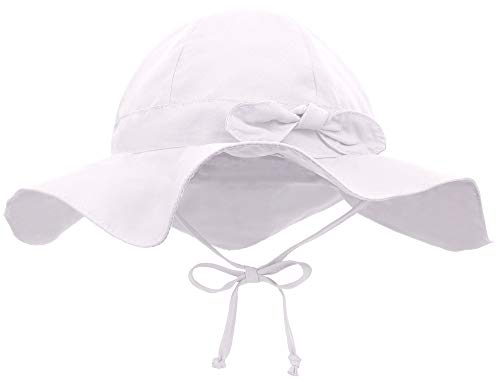 Siero Baby Sun Hat with UPF 50+ Adjustable Kids Cap, White 0-12 Months