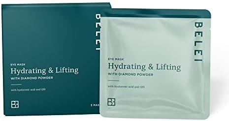 Amazon Brand - Belei - Hydrating and Lifting Eye Mask with Black Diamond Powder, Pack of 5