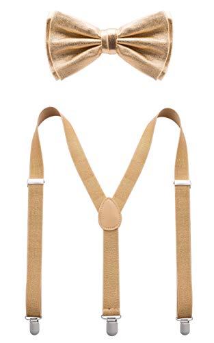 Bowtie & Suspender Sets - Glitter Suspenders & Metallic Bow Tie - Gold