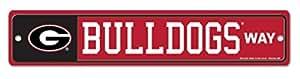 "NCAA Universidad Georgia Bulldogs 4""x 19"" plástico placa de calle Wincraft"