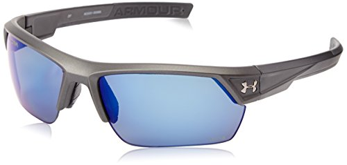 Under Armour Igniter 2.0 Satin Carbon Frame, with Charcoal Gray Rubber and Storm (ANSI) Gray Polarized Blue Mirror - Gray Lenses Polarized