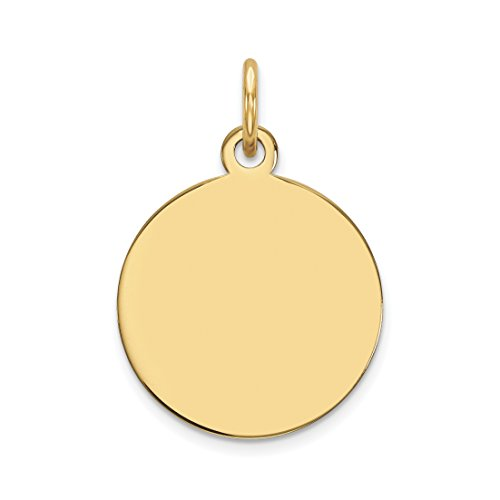 ICE CARATS 14k Yellow Gold Plain .013 Gauge Circular Engravable Disc Pendant Charm Necklace Round Fine Jewelry Gift Set For Women Heart (Disc Engravable)