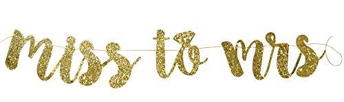 PartyFuFu Miss to Mrs Banner Gold Fancy Felt Glitter Engagement Party Photo Prop Banner Bachelorette Parties Decorations (Miss Photo)