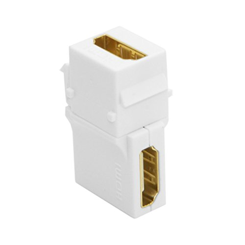 - HOTL 90 Degree Right Angled HDMI 1.4 Snap-in Female to Female Keystone Jack Coupler Adapter for Wall Plate High Speed HDMI Cable Extension Connector Converter,White