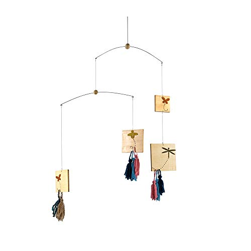 Roser Life Hanging Mobile Baby Crib, Wooden Ceiling Mobile, Modern Decorative Monochrome Butterfly Dragonfly Bee Tassel Mobiles Art for Adults Kids Children Nursery Girls, Baby Shower Birthday Decor ()