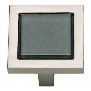 (Atlas Homewares 230-BLK/BRN 1-3/4-Inch Spa Black Square Knob, Brushed)