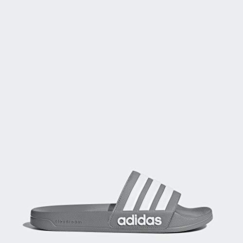 adidas Men's Adilette Shower Slide Sandal, grey/white/grey, 11 M US (Boys Slides)