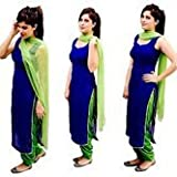 F Plus Fashion Women's Cotton Designer Blue and Green Cotton Salwar suit