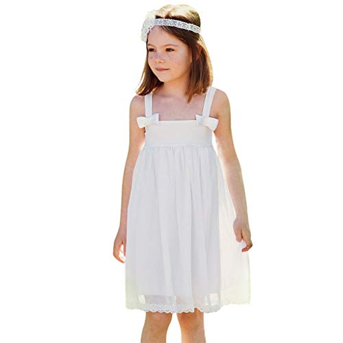 Swiusd 0-5T Toddler Infant Baby Girls Strap Bow Dresses Elegant Sleeveless Tulle Lace Embroidery Beach Dress for Wedding Church Party (White, 12-18 Months) ()