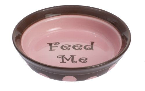 Petrageous Designs Sassy 6″ Shallow Pet Bowl, Feed Me