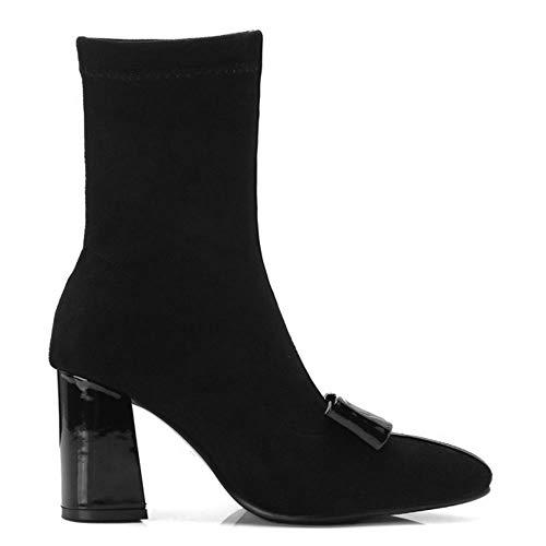Bottines Femmes Bout Chaussures Pointu Mode Fête Taoffen Black qazxwROOC