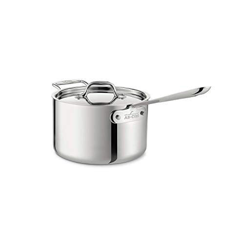 All-Clad 4204 with loop Stainless Steel Tri-Ply Bonded Dishwasher Safe Sauce Pan with Loop Helper Handle and Lid…
