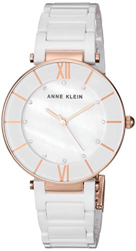 Anne Klein Women's AK/3266WTRG Swarovski Crystal Accented Rose Gold-Tone and White Ceramic Bracelet Watch ()