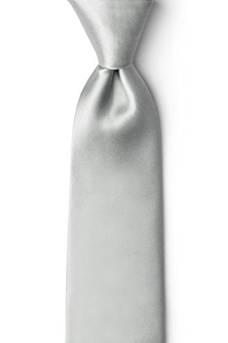 Wedding Silver 2.25'' Wedding Silver Silk Skinny Tie by