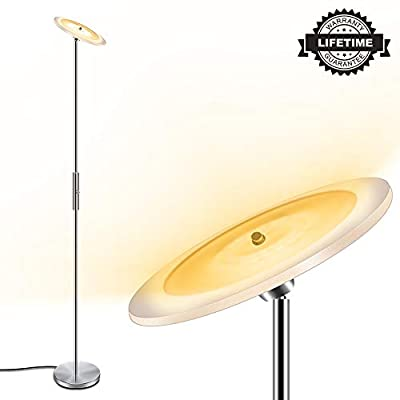 """LED Torchiere Floor Lamp, 18W Dimmable & Adjustable, Energy-Saving, 50,000 Lifespan, 3000K Warm White, 70.5"""" Modern Standing Lamp, Metal Tall Floor Lamps for Living Room, Bedroom, Office"""