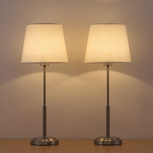 HAITRAL Modern Table Lamps Set of 2 - Brushed Nickel Bedside Desk Lamps  with Fabric Linen Shade and Metal Base, Elegant Nightstand Lamps for  Bedroom, ...