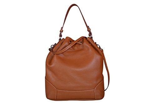 Maxima Milano Damentasche, Italienische echt Leder, Ledertasche, Schultertasche, Beuteltasche, Handtasche, mit Schulterriemen - Made in Italy