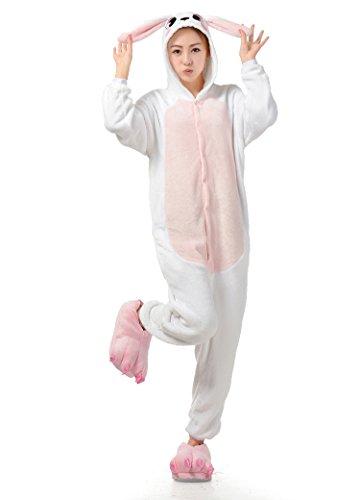 BIFINI Bunny Rabbit Kigurumi Pajamas Cosplay Funny Halloween Costumes Pink S