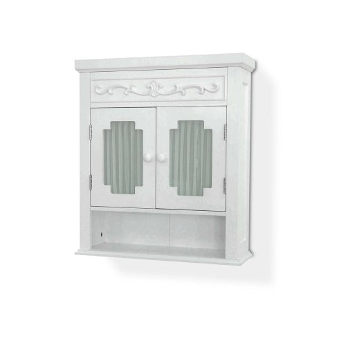 white wall cabinet with glass - 3