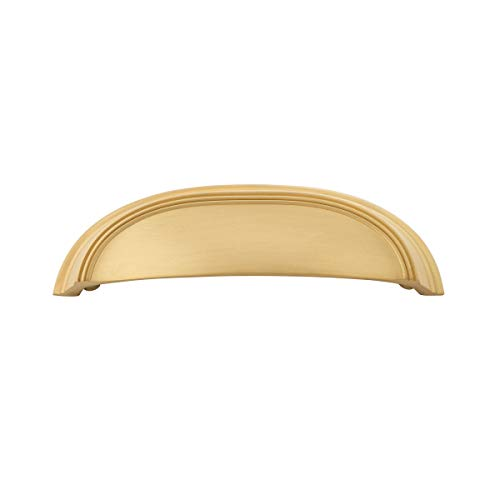 Hickory Hardware P2144-BGB American Diner Collection Cup Pull 3 Inch & 3-3/4 Inch (96mm) Hole Center, Center to Center, Brushed Golden Brass (Classic Cup Pull)