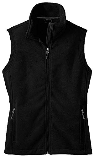 (Womens Soft and Cozy Fleece Vests-2XL-Black)