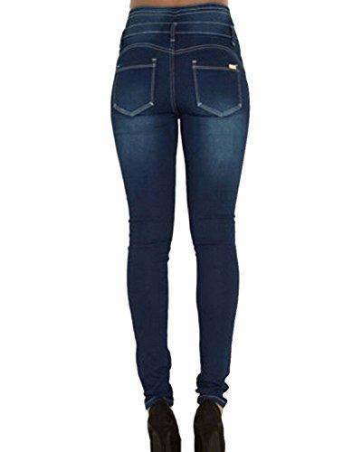 1 Leggings Pantaloni Matita Jeans Alta Blu Lunghi Da Scuro Vita Eleganti Elastico Skinny Donna Denim xTxqBg61