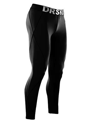 DRSKIN Compression Cool Dry Sports Tights Pants Baselayer Running Leggings Yoga Rashguard Men (L, Black)