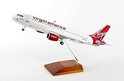 Daron Skymarks Virgin America A320 Airplane Model with Gear & Wood Stand (1/100 Scale)